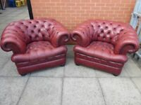 A Pair Of Pent dragon Red Leather Chesterfield Buttoned Club/Armchairs