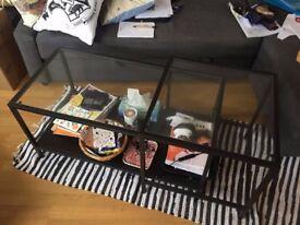 Nest of tables, set of 2 VITTSJÖ - Black-brown/glass