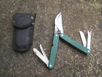 Folding secateurs with other attachments in pouch