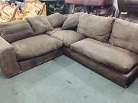 As new designer fabric corner sofa