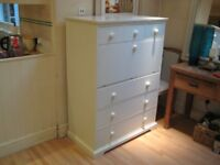 Lovely Large White Chest of Drawers with Work-space / Desk - Great Space-saver - Good condition