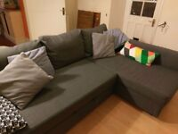 Grey Corner Sofa Bed with Storage
