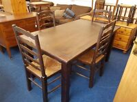 Solid dark stained Pine Kitchen table and 4 chairs