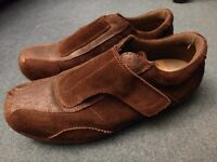 Mens Rockwood Casual Shoes - Velcro closure dark brown suede & distressed leather - size UK 12