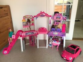 Barbie Malibu Ave Mall + Barbie VW Beetle convertible - Excellent condition. + 5 dolls as shown