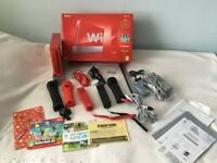Red Nintendo Wii 25th Anniversary set and Accessories