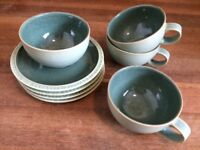 BEAUTIFUL Duck Egg Green Blue Denby 4 x Cups and Saucers
