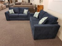 New Dark Blue 3 & 2.5 Seater Fabric Sofas Can Deliver View Collect Hucknall Nottingham