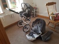 Good condition vintage pram with car seat/cot/buggy