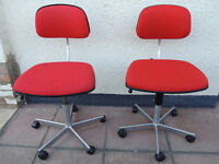 Compact designer red chairs x 6 available (Delivery)