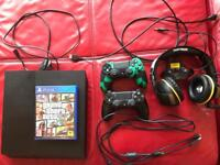 PS4, Thrustmaster Ghost headset, 2 controllers and GTA 5.