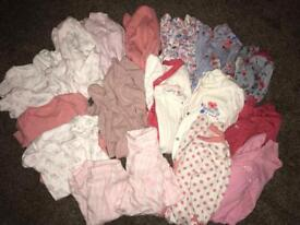 6-9 month girls clothes & sleepsuits bundle