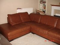 Large tan brown corner suite sofa