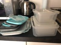 Stack of Tupperware and Lids