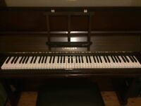 Challen Upright piano for sale, in good condition, with lift-up stool