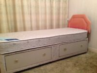 single 2ft 6 inch divan bed with 2 drawers, decent mattress and headboard