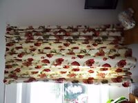 1 Large Pair C&H Lined Cream Curtains with Red Floral Print