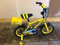 "Boy's 12"" digger style bike, includes stabilisers and helmet"