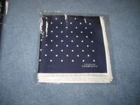 Charles Tyrwhitt new navy and white silk spot classic pocket square
