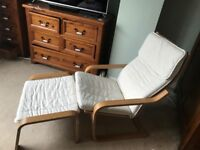 IKEA Poang Armchair and Footstool with Cream Cushions