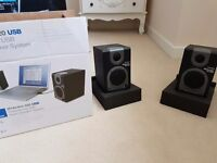 M1 active 320 USB speakers. With foam stands.
