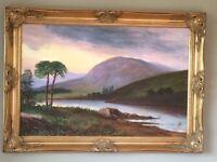 Large Framed Oil on Canvas Painting - Landscape Scene