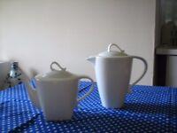 White Teapot and Coffee Pot Set