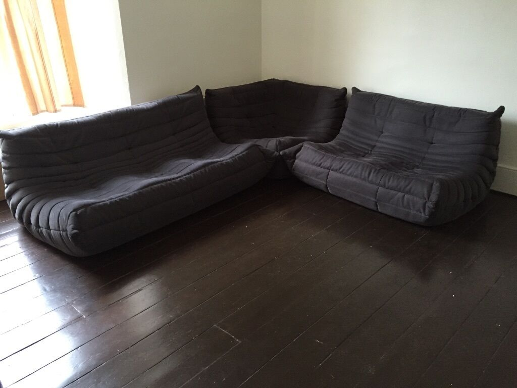 ligne roset togo modular sofa grey anthracite nearly new 3 piece london n16 in stoke. Black Bedroom Furniture Sets. Home Design Ideas