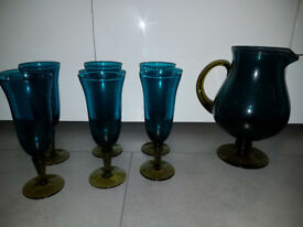 Habitat Store - GRETA Ltd Edition Blue & Green Wine Jug & Wine Glasses Set New Modern Decorative