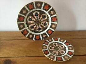 Royal crown derby china 1128 Imari plates one desert 8 inch and one side 6 inch's 1st Quality