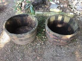Two original barrel plant pots garden
