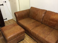 Fantastic real leather sofa with a large foot stool/storage, very good condition