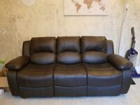 3 and 2 seat reclining brown leather sofas