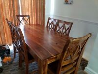 Solid wood 6 Chairs Dining Table