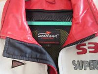 """Motorcycle Jacket leather with protectors """"Superbike Scotland"""" white and red size L"""