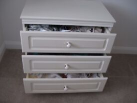 3 chest of drawers & a bedside cabinet