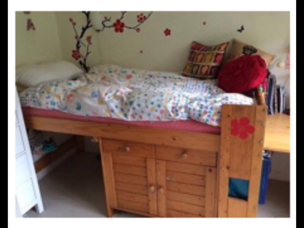 Single bed-cabin bed. Sturdy pine with nearly new mattress