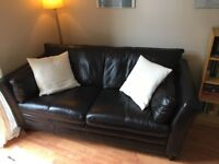 Leather sofa and armchair - dark brown