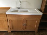 Freestanding Solid Beech Kitchen unit wuth sink and tap
