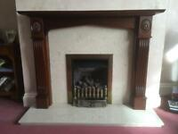 Hardwood Fire Surround with Marble Hearth & Insert
