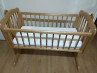 Mothercare swinging crib/cot with 2 mattress