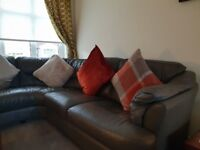 Leather corner suite, two seater sofa and storage footstool