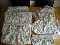 Dorma 'English Rose' curtains and complete widow dressing items for 2 windows.