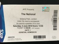 The National - One ticket for APE at Victoria Park - Sat 2nd June 2018