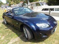 Mazda MX5 1.8L. SE. Retractable hardtop. Leather interior. New MOT. Stormy blue colour. F.M.S.H.