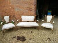 Late 19th Century Cream Upholstered French Show Frame 3 Piece Suite