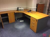 Complete home office set up, desk, cupboards, pedestal