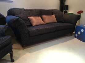 Large 2 seater sofa, wingback chair and floor cushion, dark blue fabric, v.good condition.