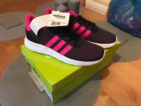 Brand new size 4 black & pink Adidas trainers