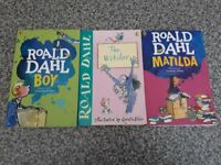 3 books by Roald Dahl: Matilda, Boy, The Witches